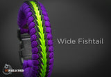 Wide Stitched Fishtail Paracord Bracelet (Purple / Neon Green / Black)