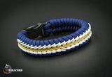 Wide Stitched Fishtail Paracord Bracelet (Navy Blue / Gold / White)