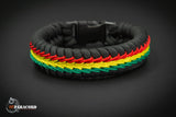 Wide Stitched Fishtail Paracord Bracelet (Rasta)