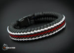 Thin Red Line Flag Stitched Fishtail Paracord Bracelet.