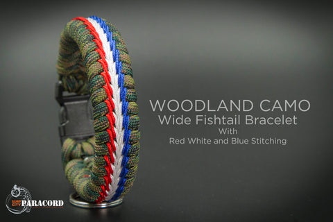 Wide Stitched Fishtail Paracord Bracelet (Woodland USA)