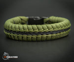 Wide Stitched Fishtail Paracord Bracelet (SWAT Olive Drab and Black)