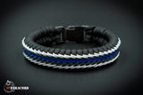 Thin Blue Line Flag Stitched Fishtail Paracord Bracelet.