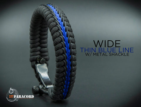 Wide Stitched Fishtail Paracord Bracelet (Thin Blue Line v2) w/ Adjustable Metal Shackle