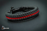 Wide Stitched Fishtail Paracord Bracelet (Thin Red Line v2) w/ Adjustable Metal Shackle
