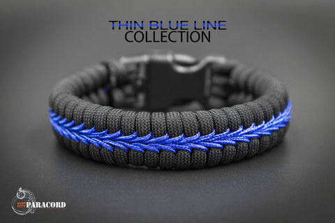 Police Thin Blue Line Wide Fishtail Paracord Bracelet