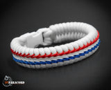 Wide Stitched Fishtail Paracord Bracelet (Thunderbird)