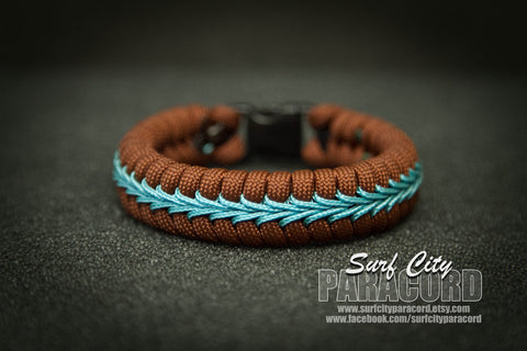 Brown Paracord Fishtail Bracelet with Blue Center Stitch.
