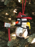 Handmade Paracord Snowman Christmas Ornament (Firefighter)