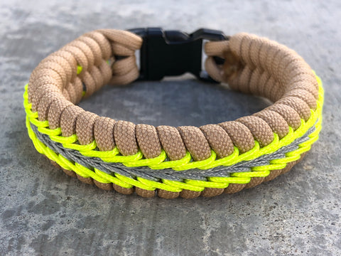 Wide Stitched Fishtail Paracord Bracelet (Firefighter)