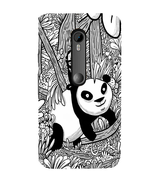 EPICCASE Black and white panda Back Case Cover for Moto X Force