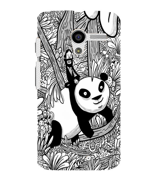EPICCASE Black and white panda Back Case Cover for Moto X