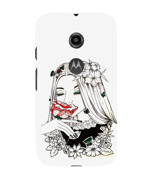 EPICCASE Cute flower girl Back Case Cover for Moto E2