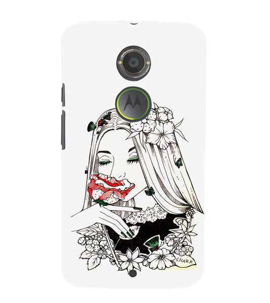 EPICCASE Cute flower girl Back Case Cover for Moto X2