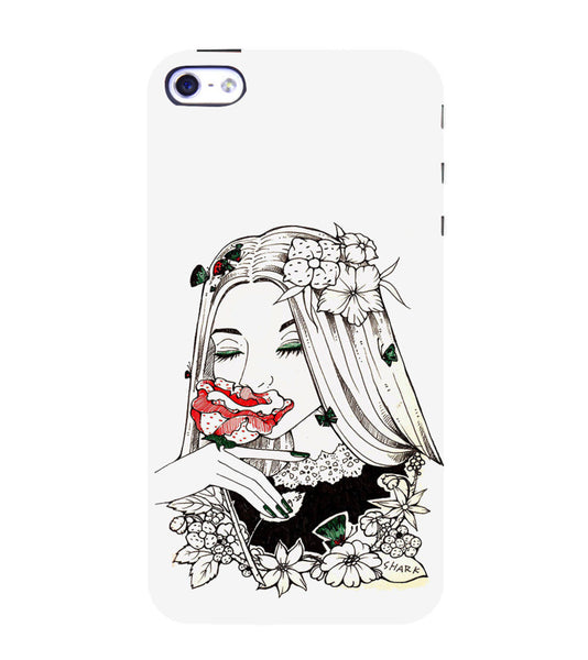 EPICCASE Cute flower girl Back Case Cover for Apple iPhone 4