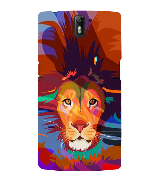 EPICCASE Colorful Lion Face Back Case Cover for Oneplus One