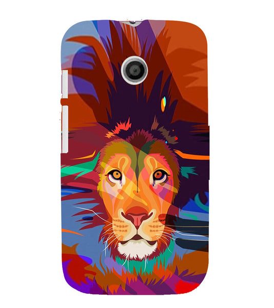 EPICCASE Colorful Lion Face Back Case Cover for Moto E