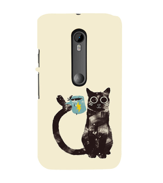 EPICCASE cat with cup Back Case Cover for Moto X Play