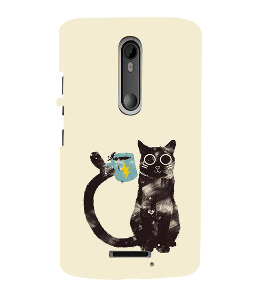 EPICCASE cat with cup Back Case Cover for Moto X3