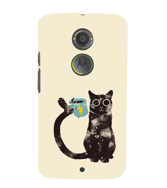 EPICCASE cat with cup Back Case Cover for Moto X2