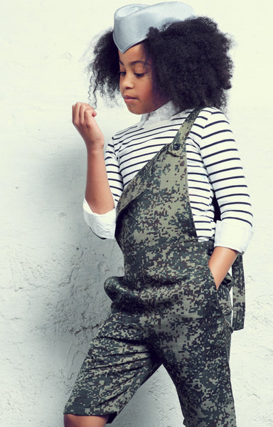 Pixilated camouflage dungarees
