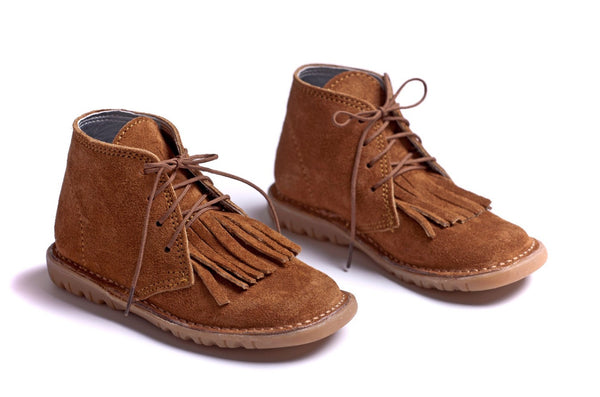 Tobacco Suede Fringe Boots