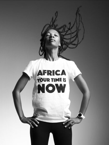 AFRICA your time is NOW adult t-shirt (white)