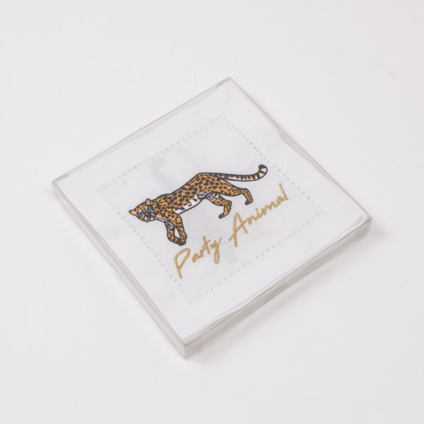 Cheetah Embroidered Cocktail Napkins | Gifts for Home | BYDEAU Hong Kong
