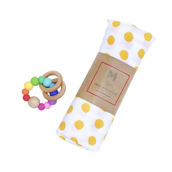 Muslin baby swaddle and silicon rattle | BYDEAU baby gift boxes