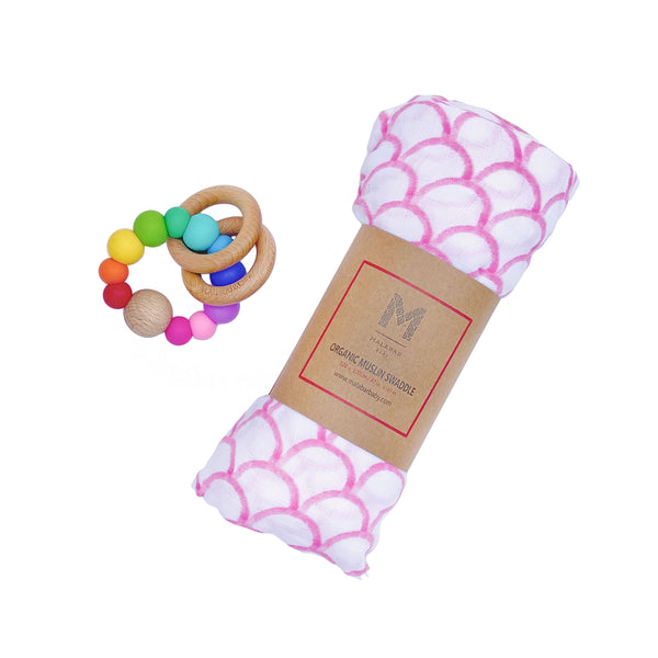 Organic swaddle and silicon teething ring | BYDEAU