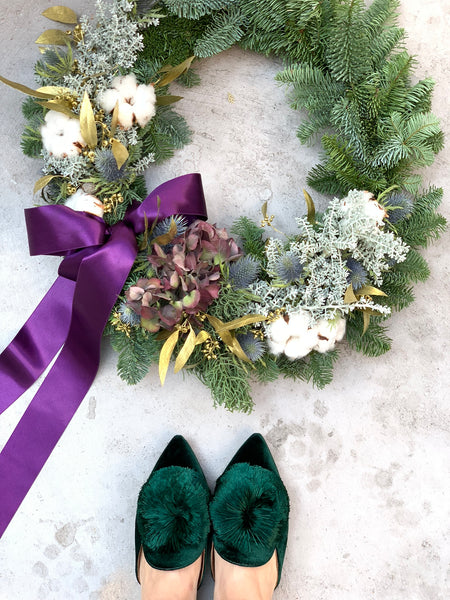 The Blixen | Christmas Wreath with Cotton | BYDEAU