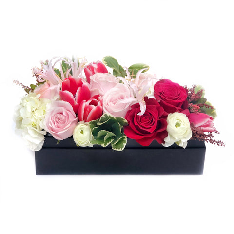 The Paloma Red + Pink Rose Flower Box | BYDEAU Hong Kong