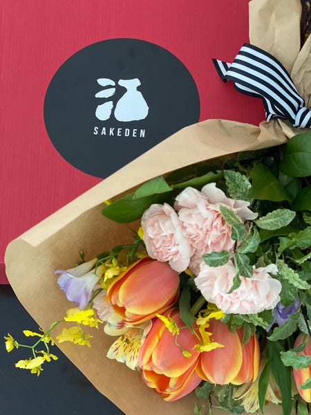 flower bouquet with sake gift set | BYDEAU Hong Kong