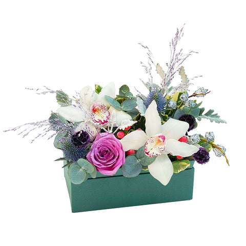 The Elsa | Flower box with purple white orchids and roses | BYDEAU