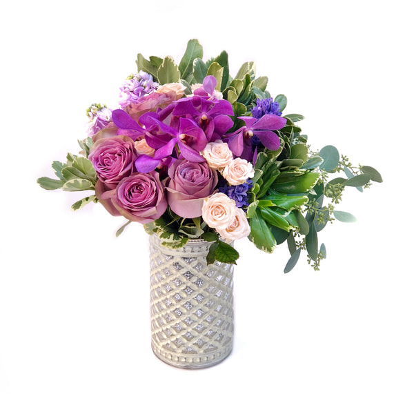 The Mulberry Rose Bouquet in Vase