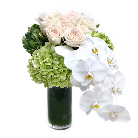 White Rose + Orchid + Hydrangea Vase Arrangement