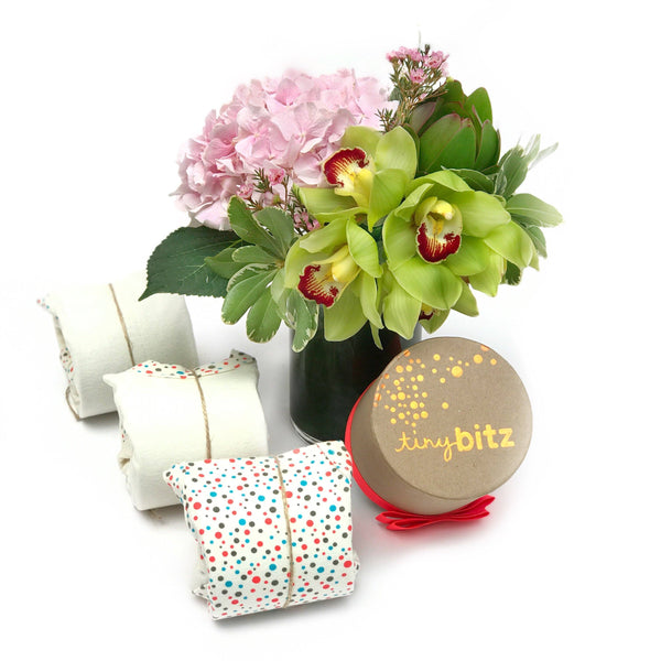 baby boy Tiny Bitz gift set with fresh orchid + hydrangea flowers Hong Kong