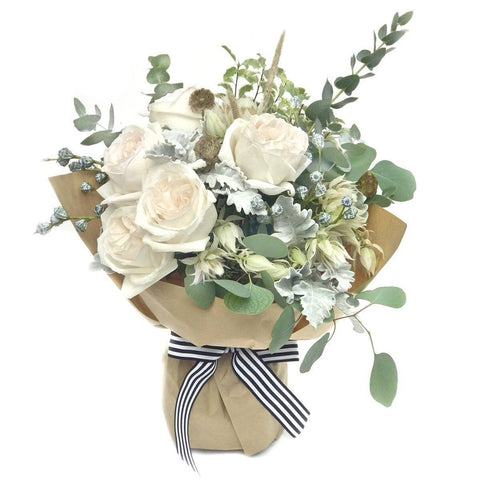 white rose bouquet BYDEAU Hong Kong Handheld Arrangement - The Emilia