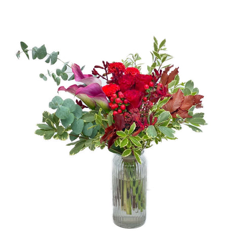 The Scarlett | Red rose, calla lily vase flower arrangement | BYDEAU