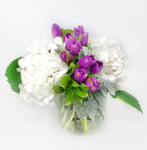 Hydrangea Tulip vase arrangement | The Alba