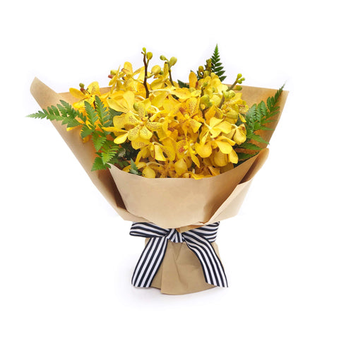 Yellow Orchid hand-tied flowers | The Canary BYDEAU