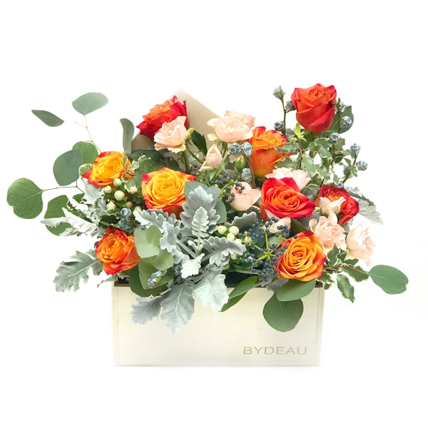 orange rose flower box arrangement - The Firenze