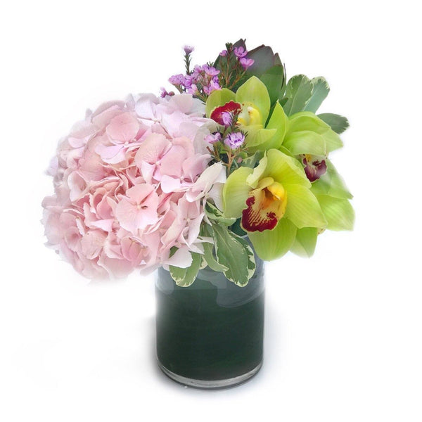 pink hydrangea orchid vase arrangement - THE LUISIA