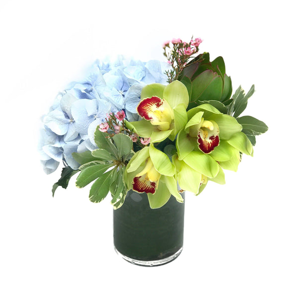 blue hydrangea orchid vase arrangement hong kong - THE LUISIA