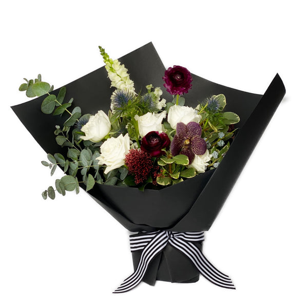 White rose & purple orchid flower bouquet | BYDEAU| Hong Kong Flower Delivery