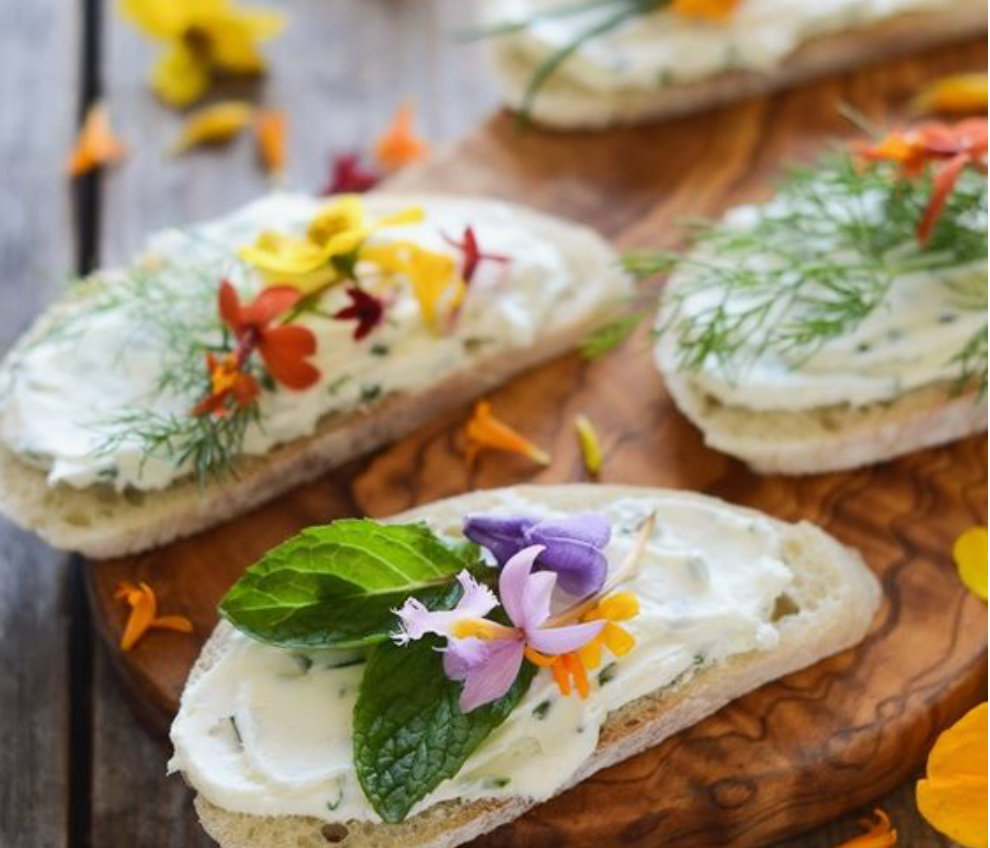 edible floral Toast