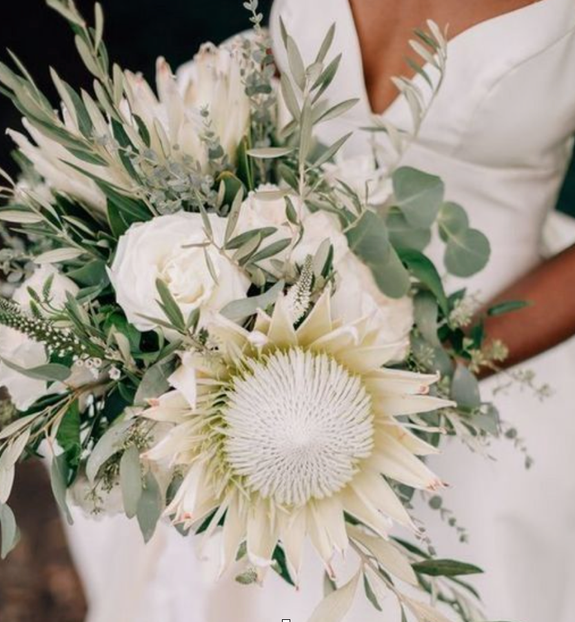 white protea modern bouquet