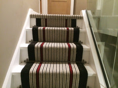 Brintons Carpets Stripes Collection Humbug, Finepoint Rothko Red & Bell Twist Ebony Stair Runner