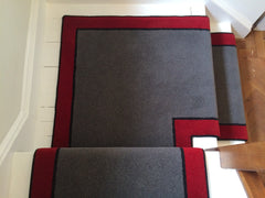 Brintons Carpets Bell Twist Smoke Ebony & Manhattan Red with Black Spider Rope Border