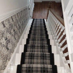Ulster Carpet Douglas Plaid & Ebony with Wulf Grey Rope Stair Runner